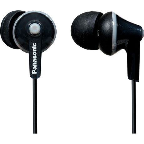 Black wired noise isolating earbuds from Panasonic