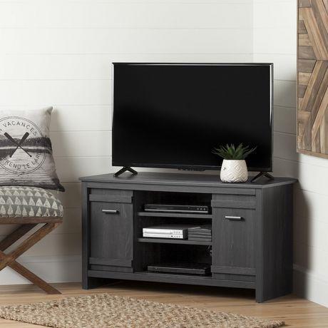 good meuble tv en coin pour tv jusquu uu exhibit chne gris de meubles south shore walmart canada. Black Bedroom Furniture Sets. Home Design Ideas
