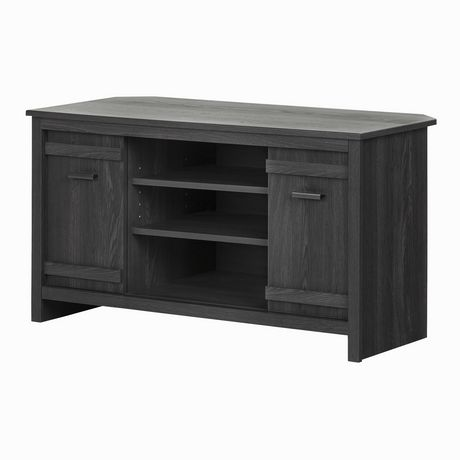 meuble tv en coin pour tv jusqu 39 42 39 39 exhibit ch ne gris. Black Bedroom Furniture Sets. Home Design Ideas