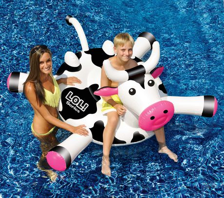 Swimline LOL™ 54-in Cow Inflatable Ride-On Pool Toy - image 1 of 2