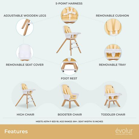 Evolur Zoodle 3-in-1 High Chair I Booster Feeding Chair I Modern Design I Toddler Chair I Removable Cushion I Adjustable Tray I Baby, Infant, and Toddler - image 2 of 9