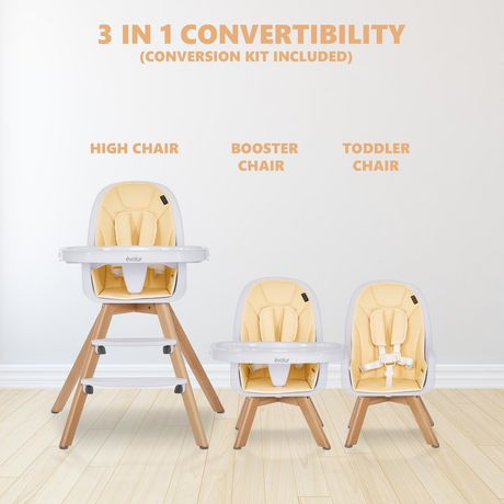 Evolur Zoodle 3-in-1 High Chair I Booster Feeding Chair I Modern Design I Toddler Chair I Removable Cushion I Adjustable Tray I Baby, Infant, and Toddler - image 3 of 9