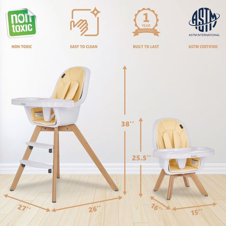 Evolur Zoodle 3-in-1 High Chair I Booster Feeding Chair I Modern Design I Toddler Chair I Removable Cushion I Adjustable Tray I Baby, Infant, and Toddler - image 4 of 9