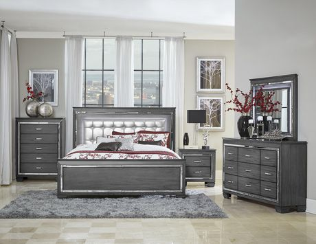 Topline Home Furnishings Grey 6 pc Queen Bedroom SetIncludes: - image 1 of 4