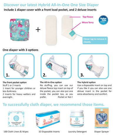 Charlie Banana 2 Inserts Hybrid All-in-One Reusable ClothDiapers - image 2 of 7