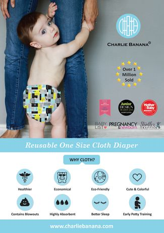 Charlie Banana 2 Inserts Hybrid All-in-One Reusable ClothDiapers - image 3 of 7