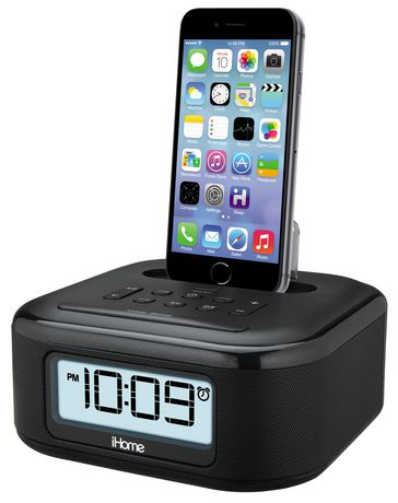 ihome stereo fm clock radio with lightning connector for iphone ipod ipl23. Black Bedroom Furniture Sets. Home Design Ideas