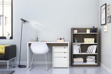 Nexera Chrono 4 Shelf Bookcase Bark Grey And White