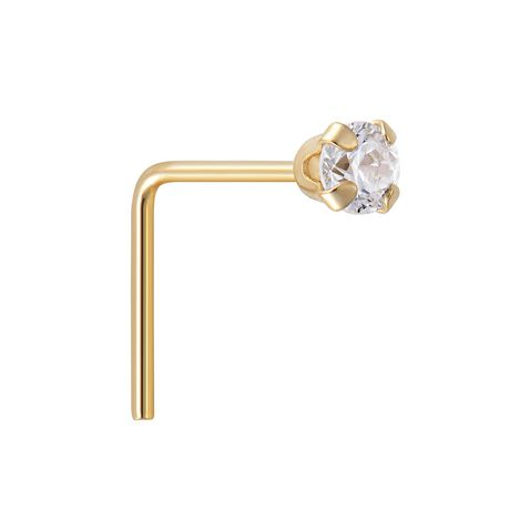 Quintessential 10kt Yellow Gold Nose Ring Set Cz Butterfly Cz