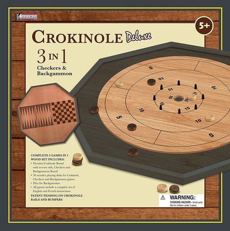 Kroeger Crokinole 3 in 1 Deluxe Wooden Board Set Game - image 1 of 1