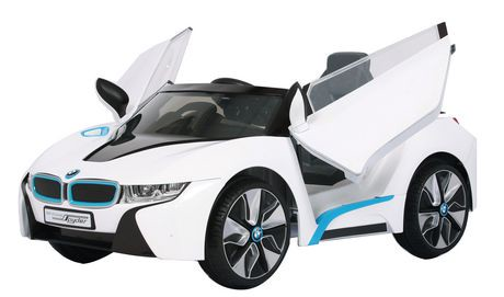 6v rollplay bmw i8 white ride on toy walmart canada for Motorized cars for 7 year olds