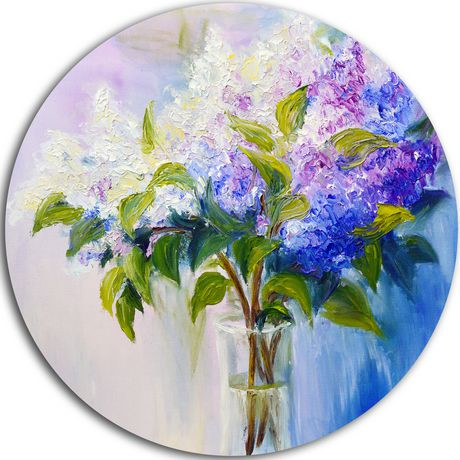 design art blue and blanc lilacs in vase 39 ultra glossy floral metal circle wall art walmart canada. Black Bedroom Furniture Sets. Home Design Ideas