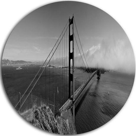 Design Art Golden Gate Bridge in Gray Panorama' Ultra Glossy Sea Bridge Metal Circle Wall Art - image 1 of 1