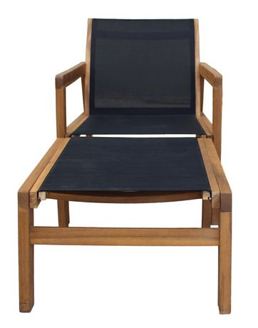 Patioflare Salma Acacia Wood Chair with Ottoman - image 2 of 6