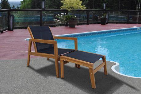 Patioflare Salma Acacia Wood Chair with Ottoman - image 6 of 6
