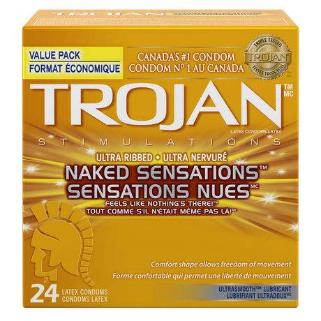 Trojan Naked Sensations Ultra Ribbed Premium Lubricated Condoms