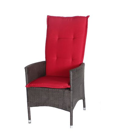 patio flare lily single wicker recliner chair with ottoman patio set black and red cushions. Black Bedroom Furniture Sets. Home Design Ideas