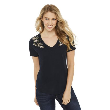 a0913cca9 George Women s Embroidered V-Neck Tee - image 1 ...