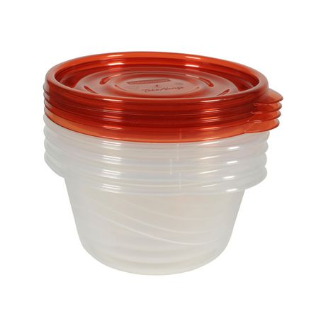 Rubbermaid TakeAlongs Food Storage Containers, 3.2 Cups, Deep Squares, 4 Pack, Tint Chili - image 5 of 7