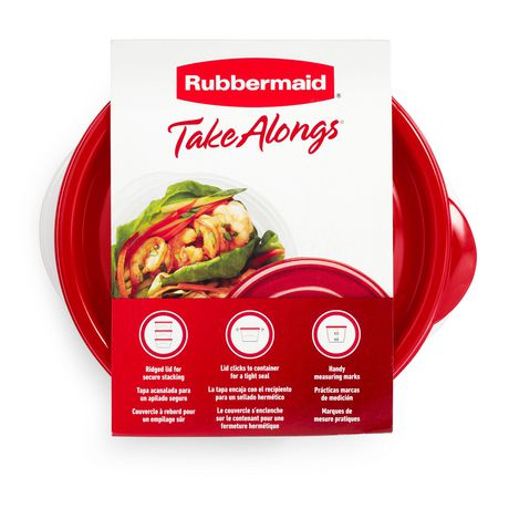 Rubbermaid TakeAlongs Food Storage Containers, 3.2 Cups, Deep Squares, 4 Pack, Tint Chili - image 4 of 7