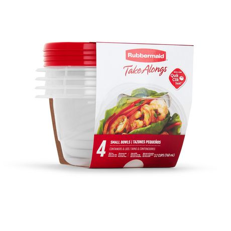 Rubbermaid TakeAlongs Food Storage Containers, 3.2 Cups, Deep Squares, 4 Pack, Tint Chili - image 3 of 7