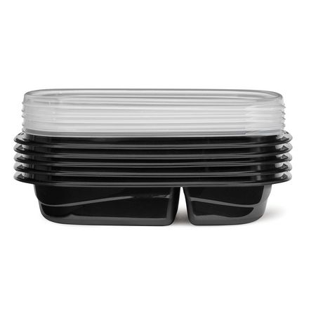Rubbermaid TakeAlongs 3.7-Cup Food Storage Containers with Divided Base, 10-Piece Set, Black - image 5 of 7