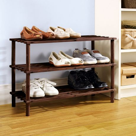 mainstays 3 tier wood shoe rack walmart canada. Black Bedroom Furniture Sets. Home Design Ideas