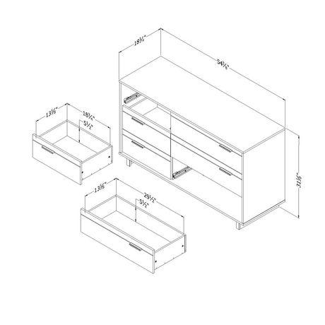 Bureau double 6 tiroirs Fynn, Chêne gris et effet planches industrielles de Meubles South Shore - image 3 de 8