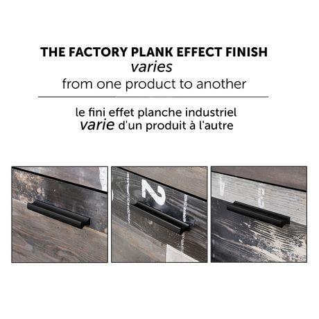 Bureau double 6 tiroirs Fynn, Chêne gris et effet planches industrielles de Meubles South Shore - image 4 de 8