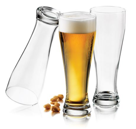 Beer glasses by Libbey with one of them filled to the top with beer