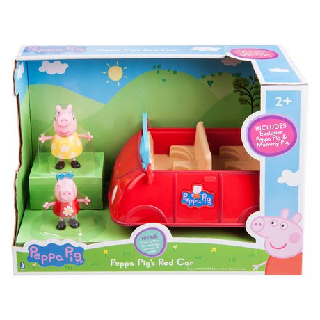 Peppa Pig S Red Car Playset With  Exclusive Figures