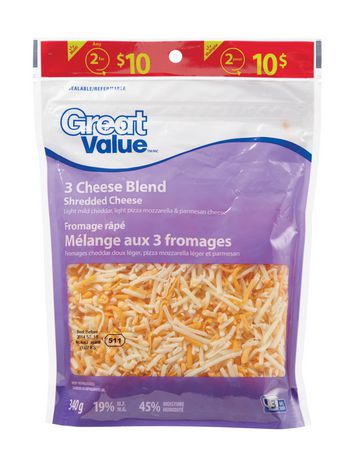 Great Value 3-Cheese Blend Shredded Cheese - image 1 of 2