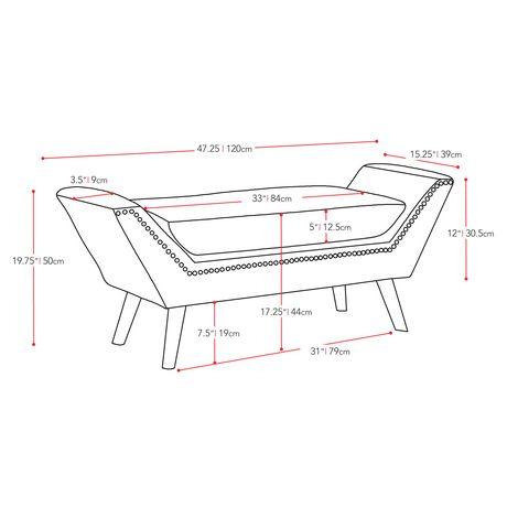 CorLiving Antonio Dark Grey Fabric Bench with Stud Detailing - image 5 of 5