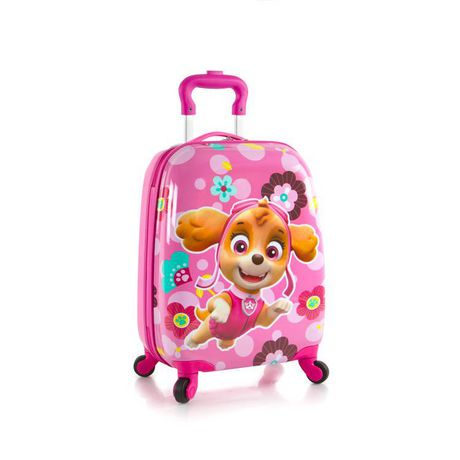 Pink luggage case with wheels and carrying handle with PAW Patrol motif