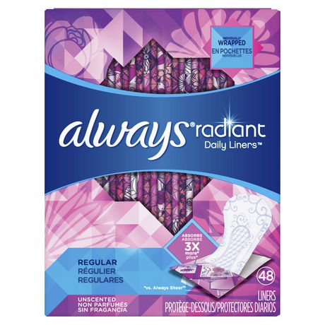 Always Radiant Pantiliners Regular Wrapped - Unscented - image 1 of 4