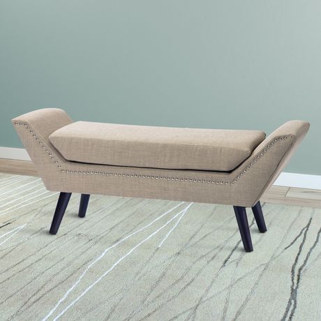 CorLiving Antonio Beige Fabric Bench with Stud Detailing - image 3 of 5