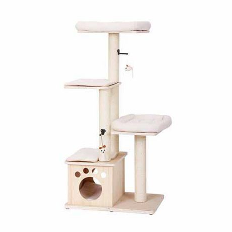 Arbre chat 4 tages abode en bois naturel de petpals - Arbre a chat en bois naturel ...