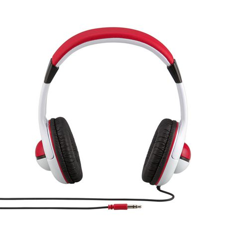 Red and white wired headphones featuring Pokemon design