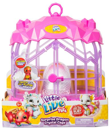 HABITAT DE DRAGON LITTLE LIVE PETS - CAGE DE CRISTAL DU DRAGON SURPRISE - ARDENT LE DRAGON DE FEU - image 1 de 3