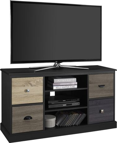 "Mercer TV Console with Multicolored Door Fronts for TVs up to 50"", Black - image 3 of 6"