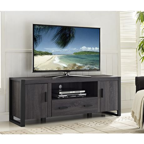 We Furniture 60 Quot Grey Wood Tv Stand Console Walmart Canada