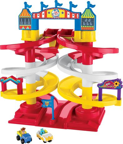 Red, white and yellow carnival-themed plastic spiral speedway from Fisher-Price Disney Pixar