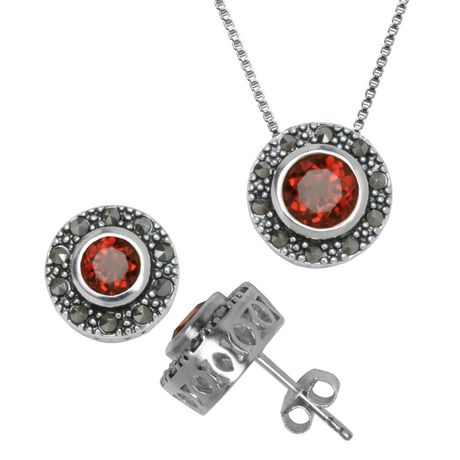 PAJ Sterling Silver Marcasite and Genuine Gemstone Pendant and Earring Set - image 1 of 1