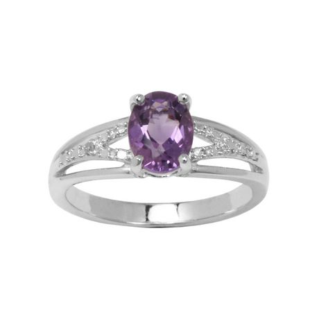 4b43066963fde PAJ Sterling Silver Genuine Amethyst Ring with Diamond Accent