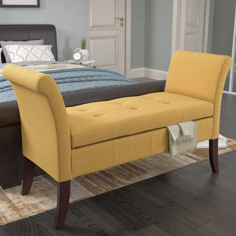 CorLiving Antonio Yellow Fabric Storage Bench With Scrolled Arms