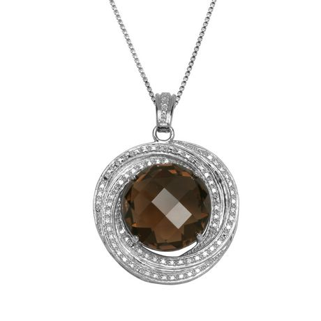 PAJ Sterling Silver Diamond Accent Smoky Quartz Pendant - image 1 of 1