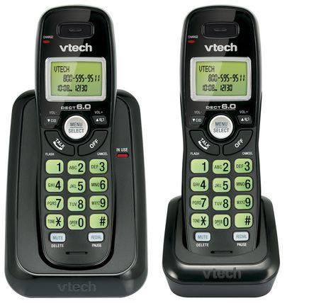 vtech cs6114 21 black two handset cordless phone with caller id walmart canada. Black Bedroom Furniture Sets. Home Design Ideas