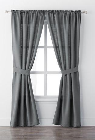 Ens. de rideaux fenêtre Bennett de Mainstays avec panneau à passe-tringle de 84 po - image 1 de 1