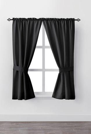 Ens. de rideaux fenêtre Bennett de Mainstays avec panneau à passe-tringle de 63 po - image 1 de 1