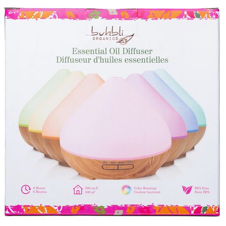 Box from Buhbli Organics containing essential oil diffuser with cover showing 7 diffusers of different colours